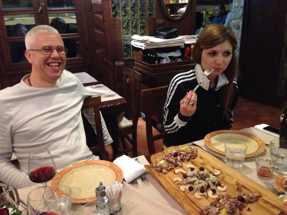 Marko and Anamarija, out to dinner with teachers