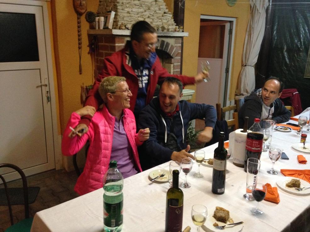 Joyfull dinner at teachers summer house